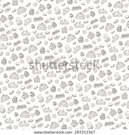 Bakery,Cakes,dessert,pastries linear pattern.Doodle vector.Vintage food icons,sweet elements background for menu,cafe shop.Flat hand drawn vintage set.Bakery,Cakes,dessert,pastries.Backdrop,wallpaper - stock vector