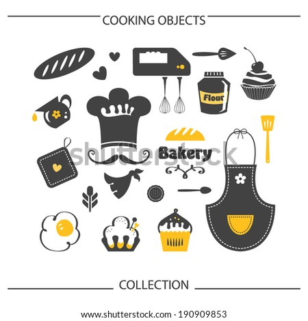 Bakery Cooking objects collection - stock vector