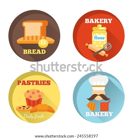 Bakery decorative icons set with bread daily fresh pastries isolated vector illustration - stock vector