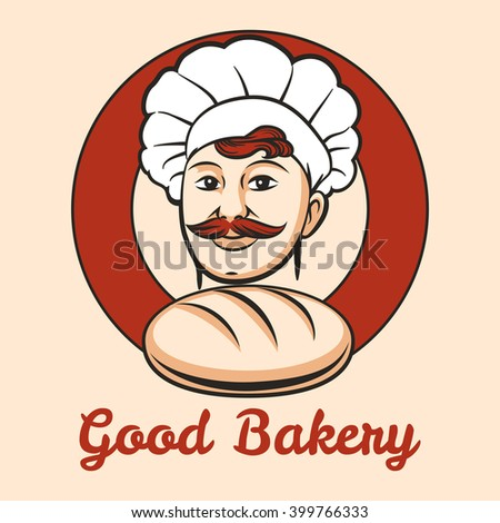 Bakery Emblem with cook and loaf of bread inside circle drawn in retro style. Free font used. - stock vector