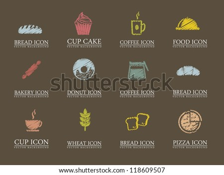 bakery icons over brown background. vector illustration - stock vector