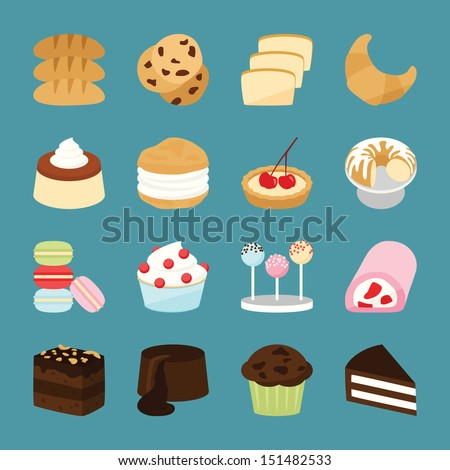 Bakery icons, vector - stock vector