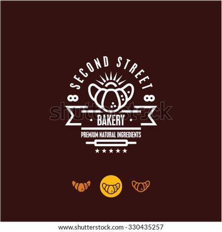 bakery logo, croissant, pastry icon - stock vector