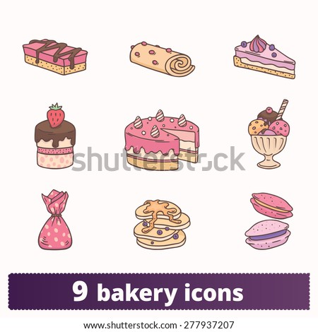 Bakery, pastry and sweets colorful icons: vector set of yummy signs. - stock vector