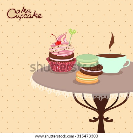 Bakery products on a round table with a mug of coffee, confectionery, sweets, desserts. Vector illustration of confectionery products on the table, cards, menus, stickers, banners. - stock vector