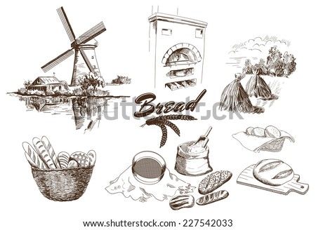 bakery products. set of vector sketches. hand drawn illustrations - stock vector