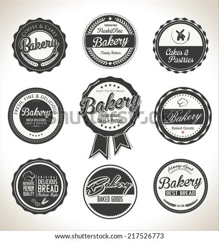 Bakery retro labels collection - stock vector