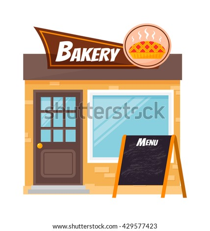 Bakery shop building facade with signboard. Flat style illustration bakery shop or bakery shop icon. Bakery shop vector fresh cafe market. Sweet french retail baker bakery house shop facade. - stock vector