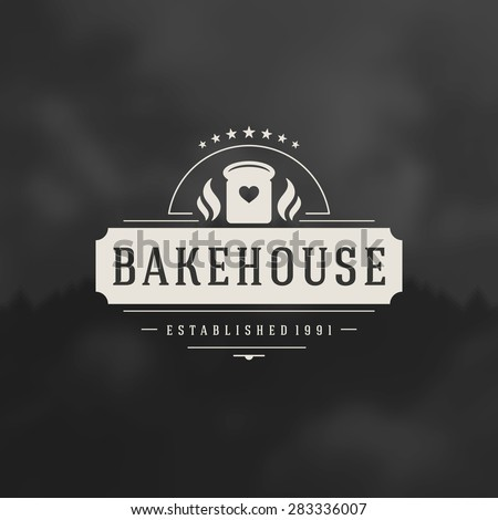 Bakery Shop Logo Design Element in Vintage Style for Logotype, Label, Badge and other design. Bread retro vector illustration. - stock vector