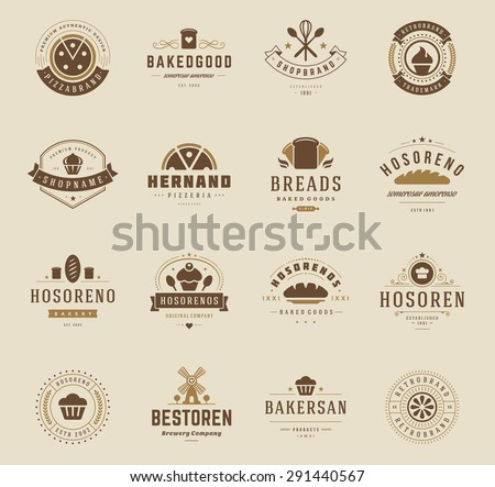 Bakery Shop Logos, Badges and Labels Design Elements set. Bread, cake, cafe vintage style objects retro vector illustration. - stock vector