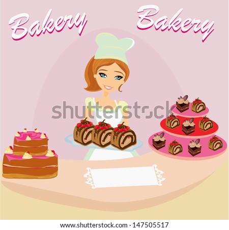 bakery store - saleswoman serving chocolate cakes - stock vector