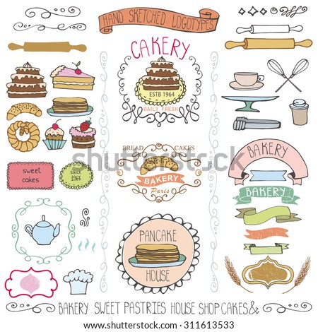 Bakery Vintage Badges,Labels,logo for sweet shop,coffee.Hand sketched logotype.Retro Colored doodles and design elements , cake icons,tableware,border,ribbons.frames . Easy to make logo.Vector - stock vector