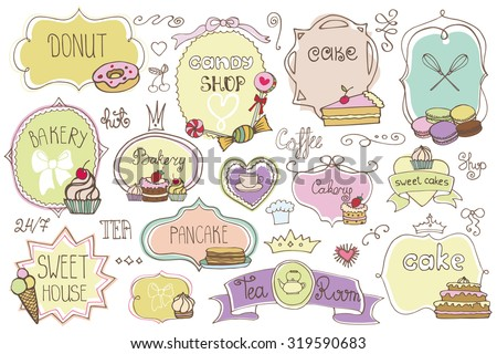 Bakery Vintage Badges,Labels,logo for sweet shop,coffee.Hand sketched logotype.Retro Colored doodles and shape design element ,cake icons ,ribbons,frames,menu template .Vector Illustration - stock vector