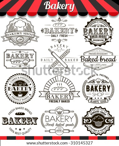 "Bakery vintage design elements and badges set. Collection of vector baked goods signs, symbols and icons. See more in set ""Labels"" of my portfolio - stock vector"