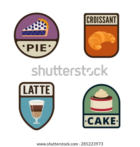 Bakery Vintage Labels vector icon design collection. Shield banner sign. Coffee Shop, Bakery Store Logo. Pie, Croissant, Latte, Cake flat icons. - stock vector