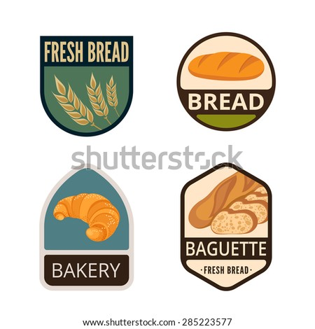 Bakery Vintage Labels vector icon design collection. Shield banner sign. Shop, Store Logo. Baguette, Spike, Bread, Croissant flat icons. - stock vector