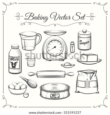 Baking food ingredients and kitchen tools in hand drawn vector style. Food cooking pastry, sieve and scales, flour and sugar illustration - stock vector