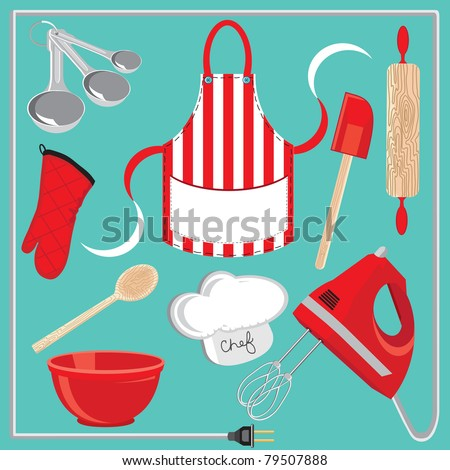 Baking icons and elements.  Great for a baking party invitation - stock vector
