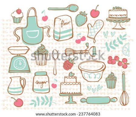 Baking kitchen icons doodle vector set - stock vector