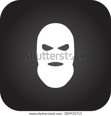 Balaclava terrorist military mask simple icon on square background - stock vector