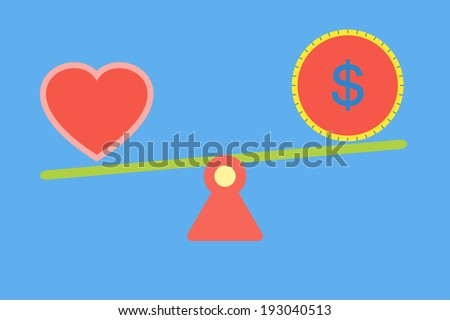 Balance between love and money vector - stock vector