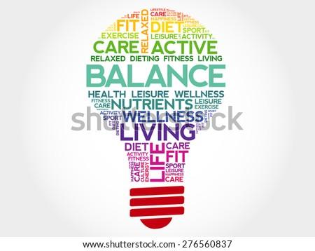 BALANCE bulb word cloud, health concept - stock vector