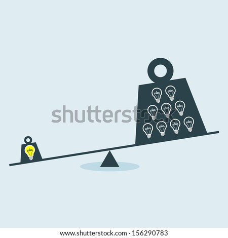 Balance Scale. Concept vector graphic of Unbalance scale between Idea and Ignorance. - stock vector