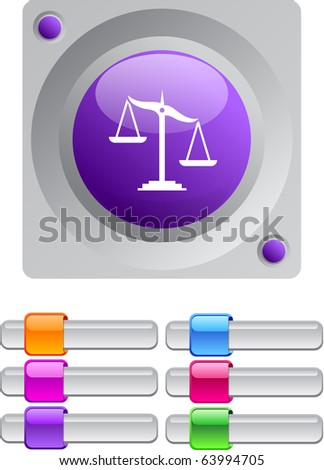 Balance vibrant round button with additional buttons. - stock vector