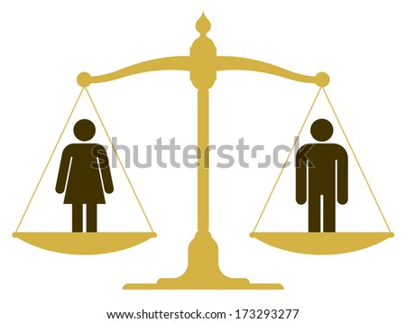 Balanced old fashioned pan scale with a man and woman showing the equality of the sexes illustration - stock vector
