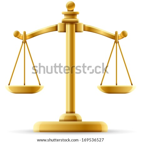 Balanced scale of justice isolated on white with space for copy. - stock vector