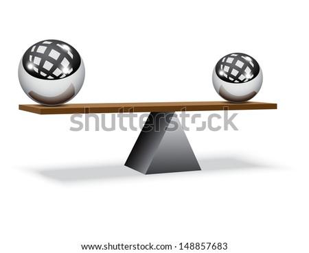 Balancing balls on wooden board  - stock vector