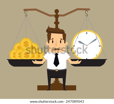 Balancing Time and Money.vector - stock vector