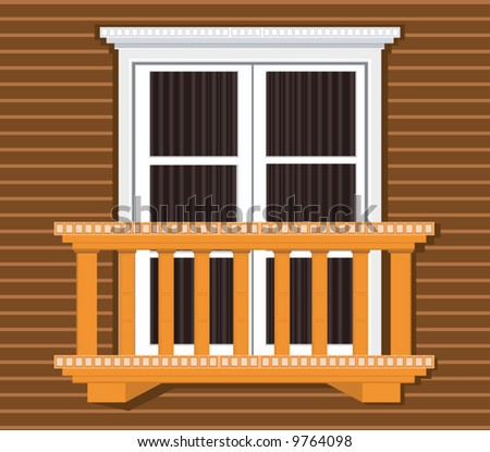 Balcony window stock vectors vector clip art shutterstock for Balcony clipart