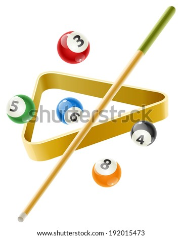 Ball and cue for playing  billiard game. Eps10 vector illustration. Isolated on white background - stock vector
