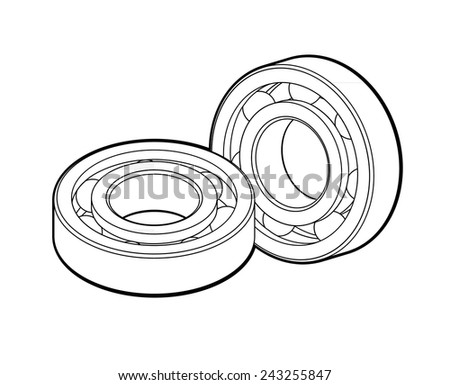 Ball bearings isolated on white background. - stock vector