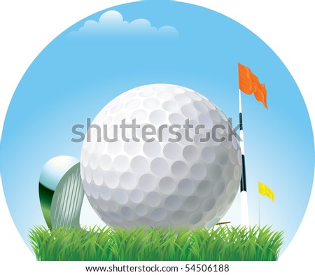 ball golf in the foreground, against a background of other accessories - stock vector