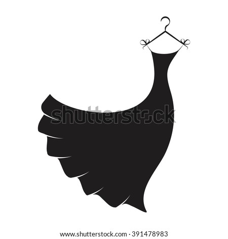 Ball gown female black long on a hanger - stock vector
