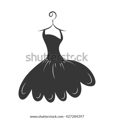 ball gown little black on a hanger on a white background - stock vector
