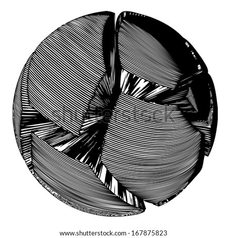 Ball vector in futuristic style - isolated transparent object on white background - stock vector