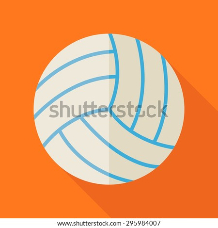 Ball Volleyball. Back to School and Education Vector Illustration. Flat Design Colorful Sports Item illustration with Long Shadow. Leisure and Activity. Team Sport and Fitness. Physical Education - stock vector