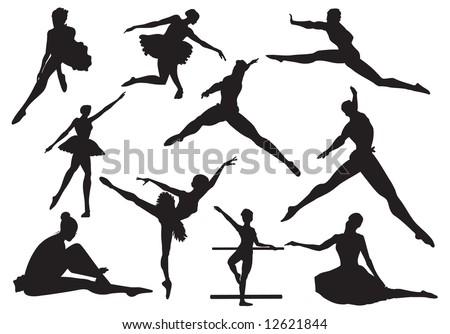 ballerina and ballet, vector - stock vector