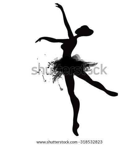 Ballerina in dance. watercolor black and white - stock vector