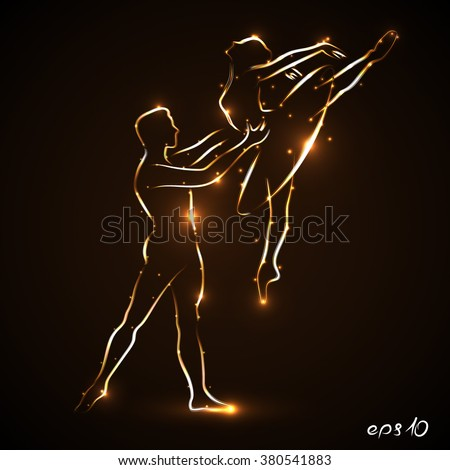 Ballet. Couple dancing ballet. Ballerina and her partner. Pair statement. Man dancer supports waist ballerina while jumping. Abstract silhouette of two dancers with golden light outline. Eps10 Vector  - stock vector
