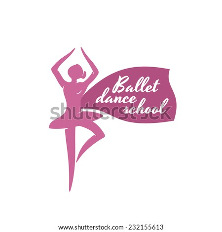 Ballet dance school logo template. Ballerina silhouette with text placeholder. - stock vector