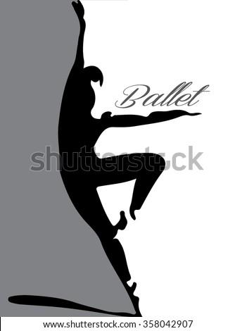 ballet dancer silhouette 3 lettering - stock vector