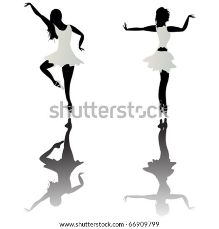Ballet dancer silhouettes and reflection over white background - stock vector
