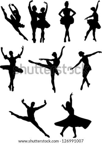 ballet dancers collection vector - stock vector