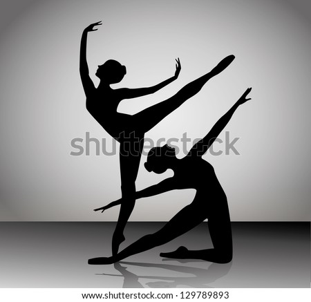 ballet dancers silhouettes. Vector illustration - stock vector