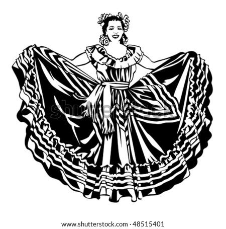 Ballet folklorico dancer - stock vector