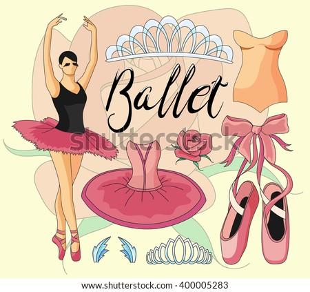 Ballet icon set - stock vector